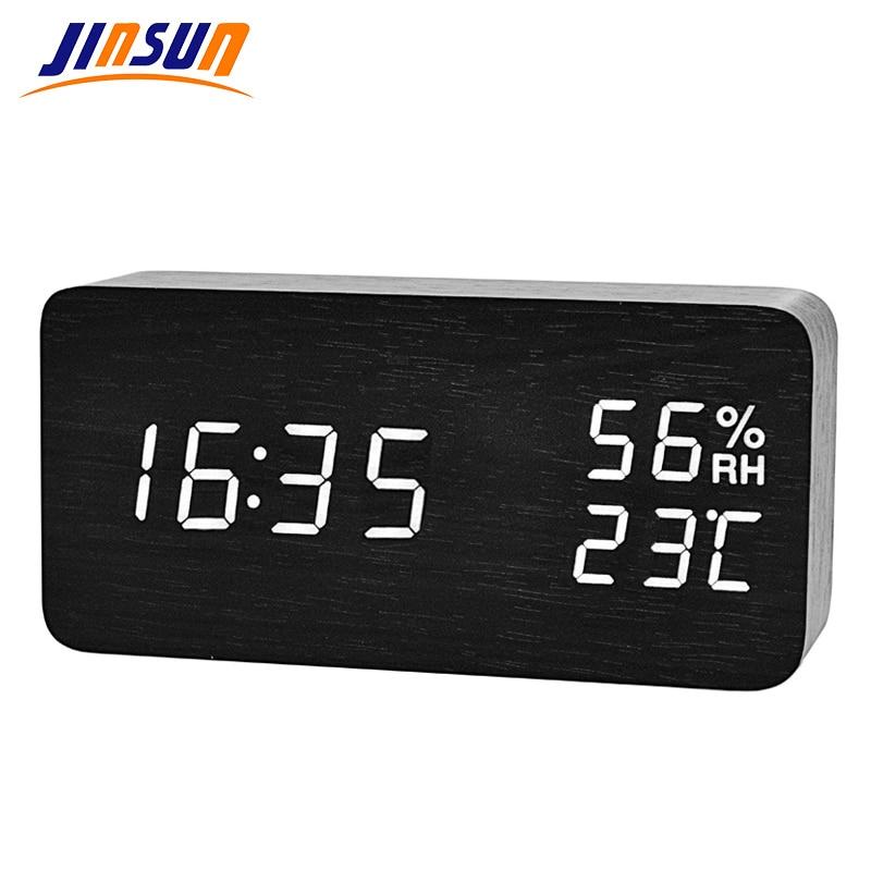JINSUN Moderne LED Wecker Despertador Temperatur Feuchtigkeit Elektronische Desktop Digitale Tabelle Uhren