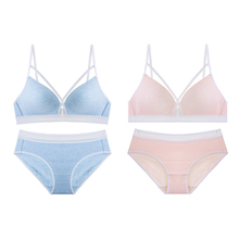 2 Pieces New Fashion Women Blue Pink Sexy Lingerie Lace Cut Out One Piece Bralette Cotton Panties Padded Wireless Bra Sets A B