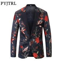 PYJTRL Chaqueta ajustada con estampado Floral para hombre, chaqueta con bordado de brocado, patrón de aves, color dorado, azul y verde, Nuevo rojo