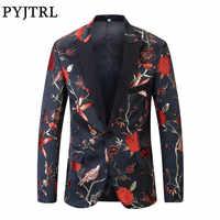 PYJTRL nuevo rojo dorado azul verde brocado bordado Floral aves patrón Slim Fit Blazer diseños hombres traje chaqueta cantante de escenario desgaste