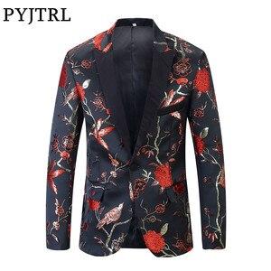 Image 1 - PYJTRL 新レッドゴールドブルーグリーンブロケード刺繍花の鳥パターンスリムフィットブレザーデザイン男性のスーツのジャケットステージ歌手着用