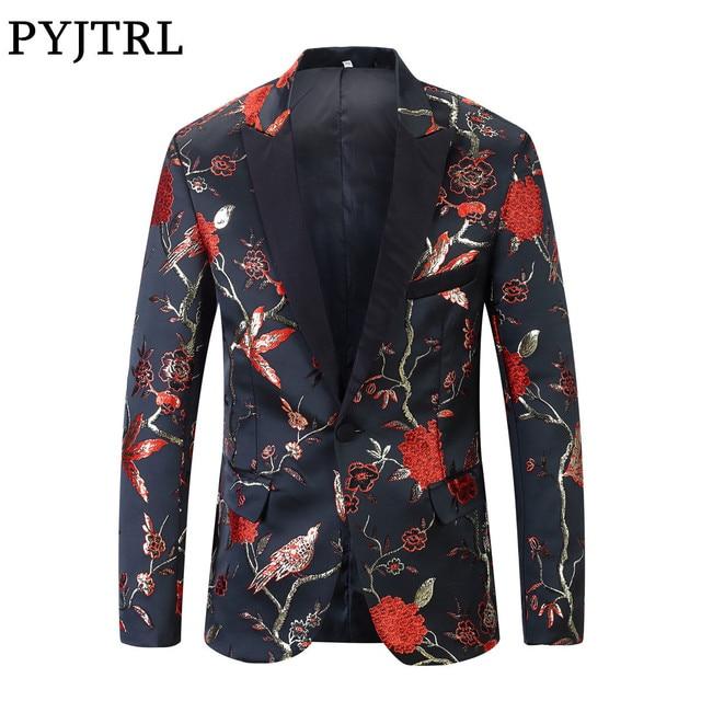 PYJTRL 新レッドゴールドブルーグリーンブロケード刺繍花の鳥パターンスリムフィットブレザーデザイン男性のスーツのジャケットステージ歌手着用