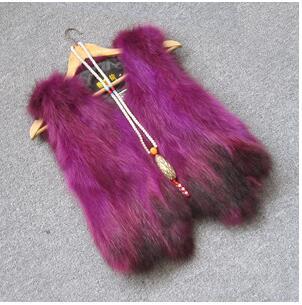 Жилет из натурального меха енота, женский жилет из лисьего меха, короткий дизайн, повседневное пальто из натурального меха, меховая верхняя одежда градиентного цвета - Цвет: 2