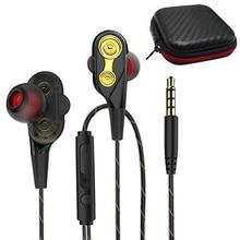อัพเกรดDualไดรเวอร์หูฟังSuper Bassกีฬาหูฟังชุดหูฟังสเตอริโอหูฟังในหูฟังพร้อมไมโครโฟน