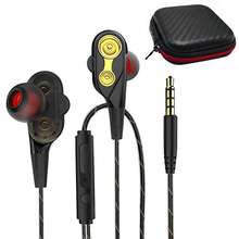 Upgraded Dual Drivers Earphone Super Bass Sports Earphones Stereo Music Headset Wired Earbuds in ear Earpiece with Mic