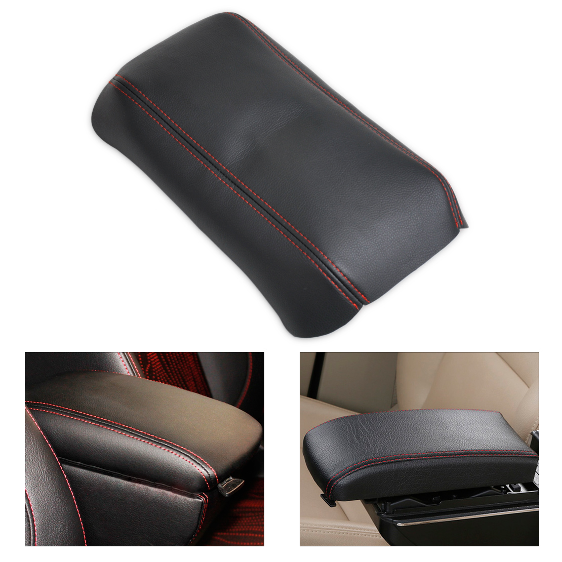 DWCX Black Leather with Red Stitching Black Front Console Lid Armrest <font><b>Cover</b></font> Decor for <font><b>Honda</b></font> <font><b>Accord</b></font> 2003 2004 2005 2006 <font><b>2007</b></font> DIY image