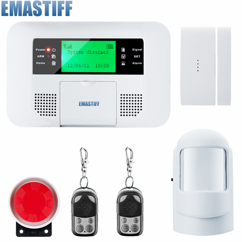 Android IOS App Wireless GSM Home Alarm System SIM Smart Home Burglar Security Alarm System Kit PIR/door Sensor free shipping new family guard android ios app 433mhz sensor gsm sim call lcd smart dislay keypad home burglar security alarm