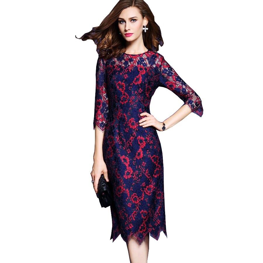 High Quatily Women Lace Dress 2017 Spring Fashion Runway Dress Half Sleeve O Neck Flower Print