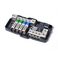 Multifunctional LED Car Audio Stereo Mini ANL Fuse Box with 4 way Fuse Suitable for Cars Boats Auto Replacement Parts