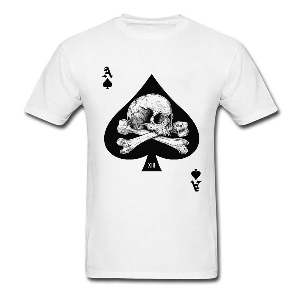 Custom Ace Of Spades T Shirt 2018 T-shirt Men Skull Tshirt Poker Card Clothes Hip Hop Tops Vintage Retro Tees Cotton White