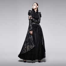 Punk new products printing jacket asymmetrical dew chest tail women outerwear coat