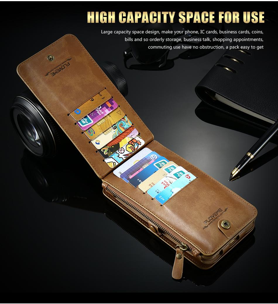 FLOVEME Hybrid Detachable Leather Case For Samsung Galaxy S7 Edge 18 Card Slot Metal Zipper Cash Storage Wallet Pouch Cover Bag (10)