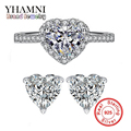 GALAXY Luxury Real 925 Sterling Silver Earrings Ring Jewelry Sets Romantic Heart CZ Diamond Bridal Jewelry Sets For Women YS045