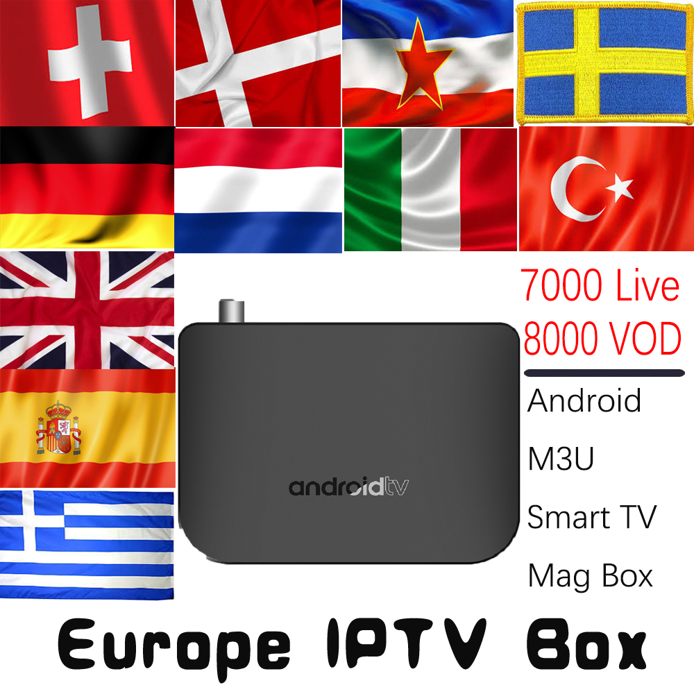 M8S PLUS DVB-T2/T Android 7.1 TV Box 4K with 7000 Live 8000 VOD Germany UK Spain Italy Turkey Nordic Europe HD IPTV Media Player a95x pro voice control with 1 year italy iptv box 2g 16g italy iptv epg 4000 live vod configured europe albania ex yu xxx