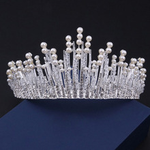 Luxury Pearl Crown Bridal Tiara Pearl Headband Wedding Hair Vine Tiara Accessories Headpiece Bridal Crowns Pageant