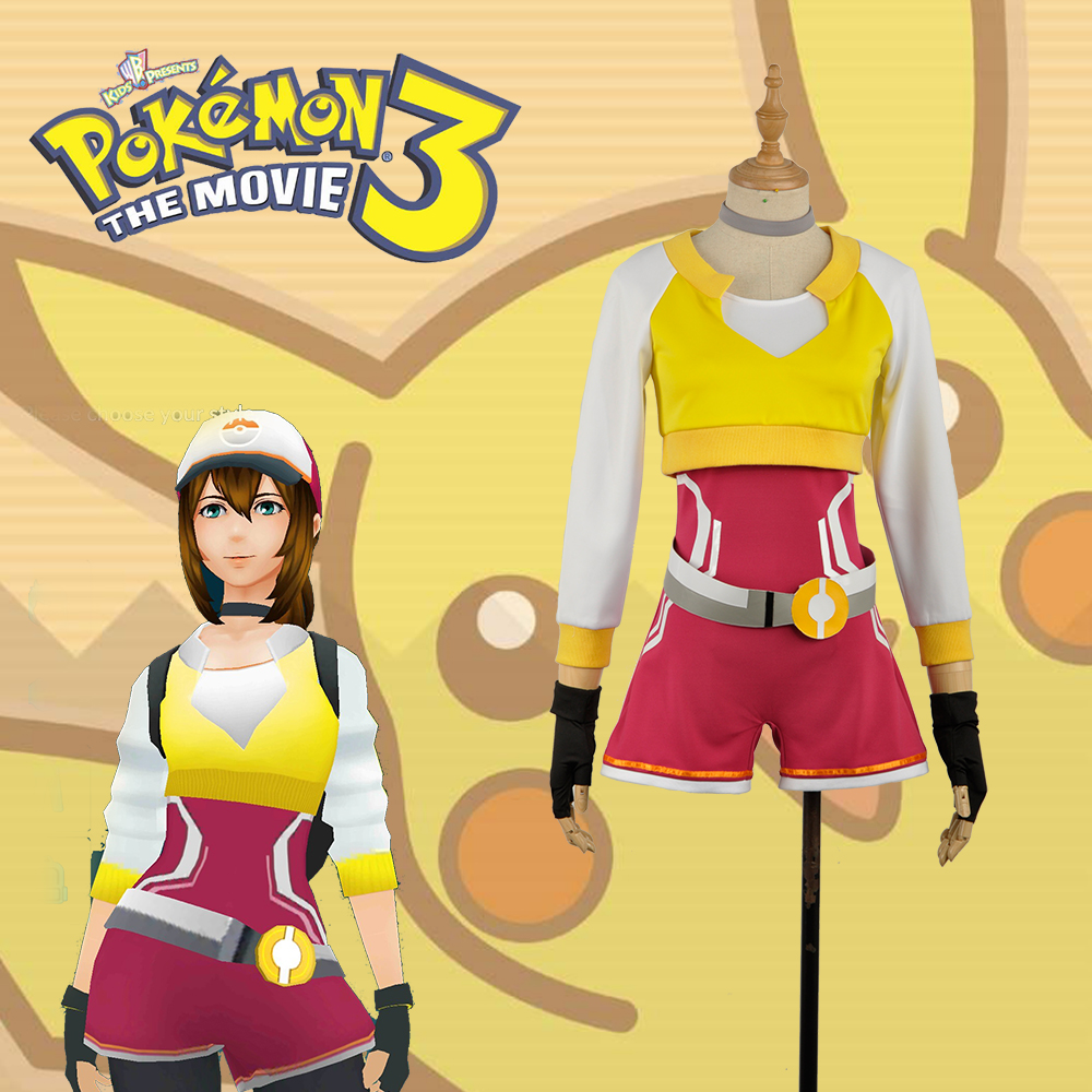 Hand Tour Pokemon Go Yellow Vest Trainers Female Version Cosplay Costume For Christmas For Adult  with Hat