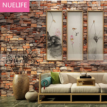 0.53x10m 3D  Retro Nostalgic Simulation Brick Wallpaper Restaurant Bar Clothing shop bedroom living room  Decorative Wallpaper