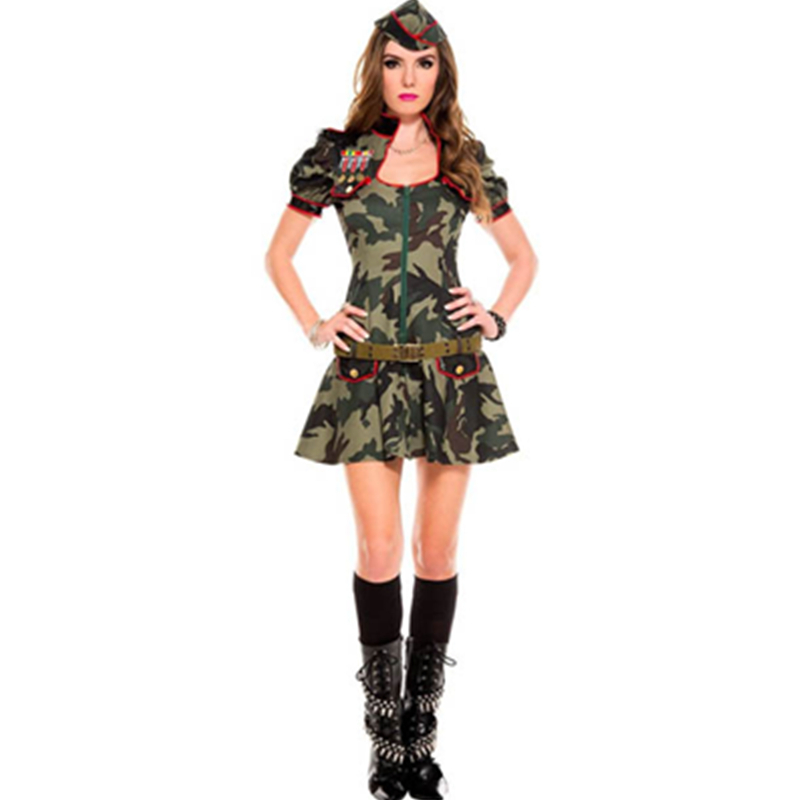 A Three Piece <font><b>Sexy</b></font> <font><b>Army</b></font> Puff Sleeves Front Zipper Camo Dress Woman <font><b>Army</b></font> Costume <font><b>Sexy</b></font> Roleplay <font><b>Cosplay</b></font> Fancy Outfit L15212 image