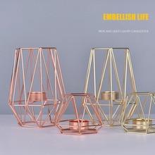 Геометрические подсвечники из кованого железа в скандинавском стиле для украшения дома, металлические изделия