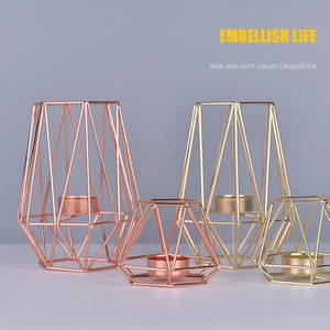 ISHOWTIENDA Geometric Candle Holders Home Decoration Metal