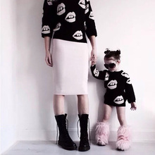 New Hot Baby Girl Boy Lips Knitted Sweater Baby Mother Outfits Retail Winter Brand Family Matching Outfits Sweater 100% Cotton