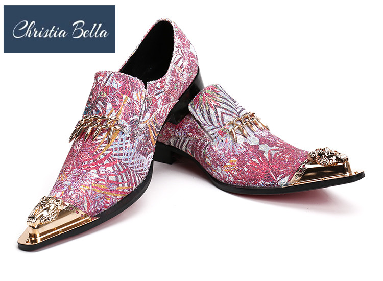 7e8350cfea Christia Bella Brand Designer Metal Cap Mens Shoes Fashion Pointed ...