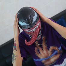 цена New Spider-Man The Venom Mask with Long Tongue Cosplay Spiderman Edward Brock Dark Superhero Venom Latex Horror Mask Beanie Hat онлайн в 2017 году