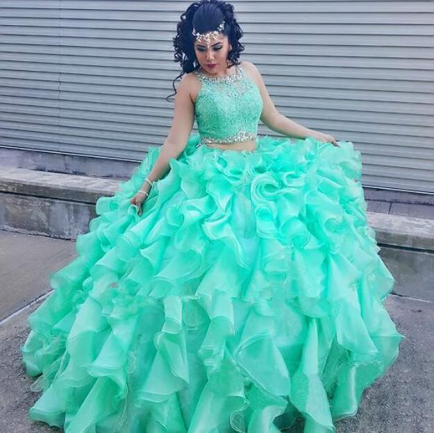 2016 Mint Green Two Pieces Quinceanera Dress Ball Gown Crystal Sequins Plus Size Ruffles Sweet 16
