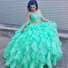 2016 Mint Green Two Pieces Quinceanera Dress Ball Gown Crystal Sequins Plus Size Ruffles Sweet 16 Dress Vestidos De 15 Anos QR69