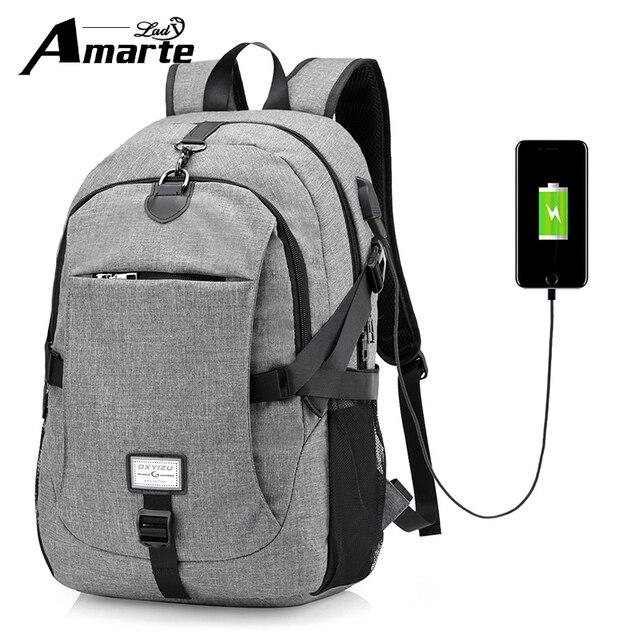 258b8c7951 Amarte Women Waterproof USB External Laptop Backpack Men Backpacks Big  Capacity for Male Female Travel Backpack