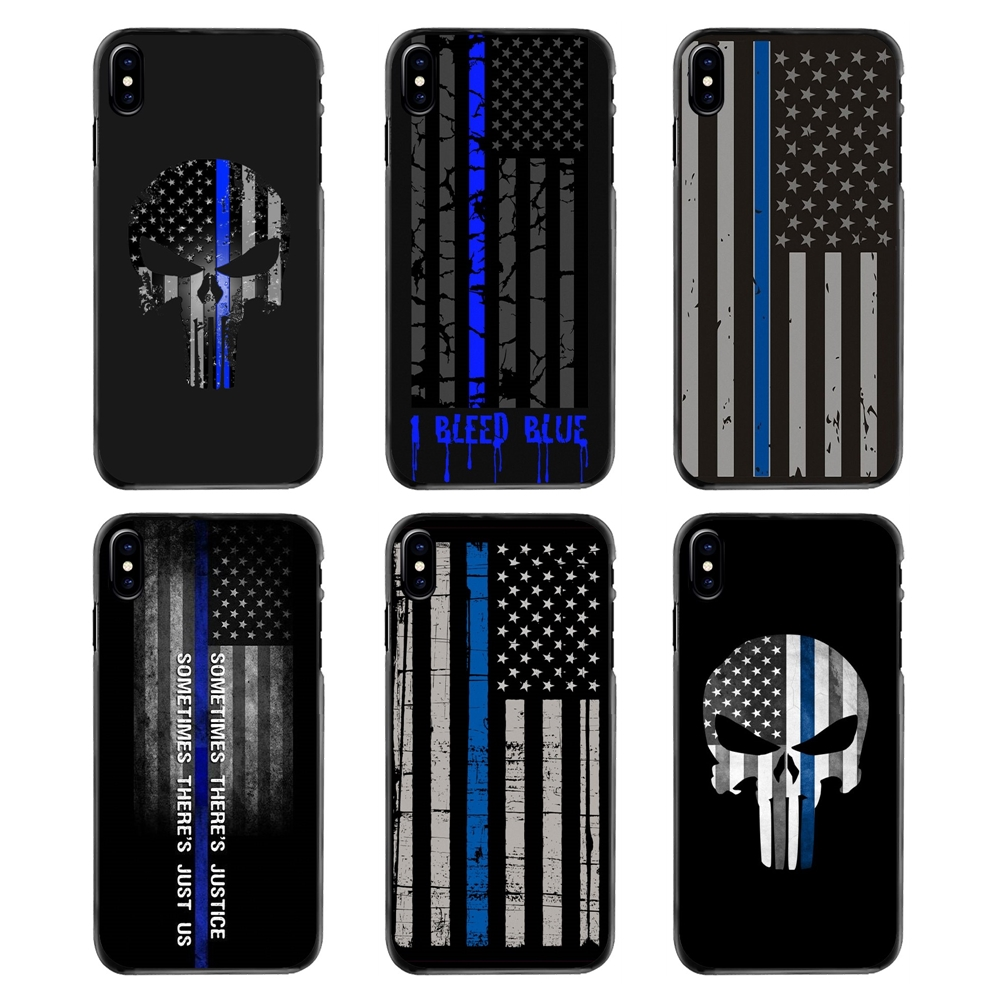 Phone Cover The Thin Blue Line USA Flag Police Skull Print ...