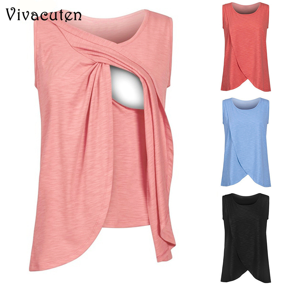 Summer Breast-feeding T Shirt Feeding Maternity Clothes Pregnant Women Cotton Sleeveless ...