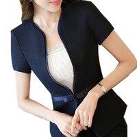 SEYAM Summer Short Sleeve Jacket Blazer Women S 5XL Single Button Bow Feminino Office Black Blazer