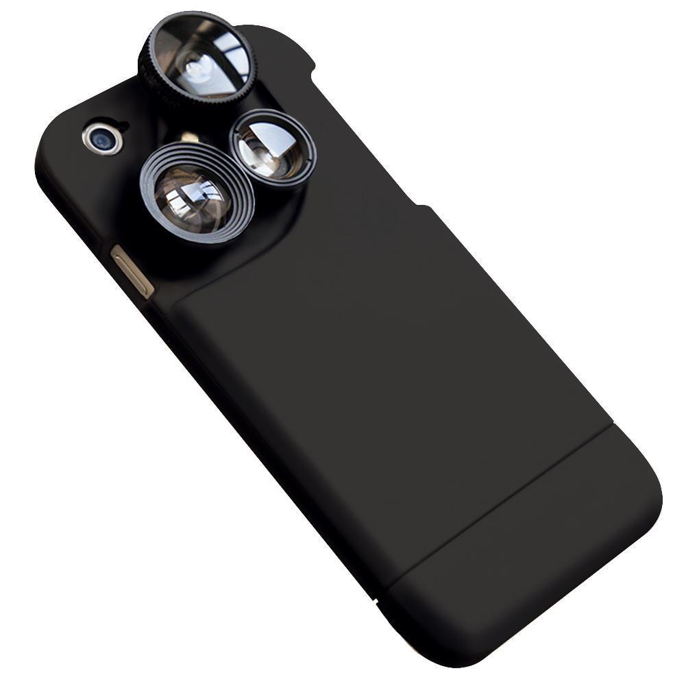 Fundas Lensese de teléfono móvil 4 en 1 cobertura completa para iPhone 7 6S 6 Plus gran angular Macro ojo de pez lentes de teléfono funda negra