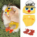 Lovely Duck Design Baby Boys Girls Knitted Infant Baby Duck Hat Diaper Set Crochet Bebe Animal Costume 1set  Cosplay