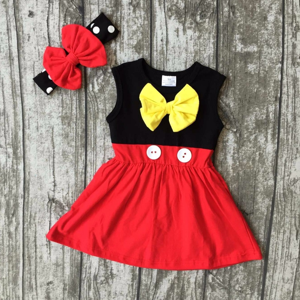 new arrival baby girls clothes kids wear summer princes red yellow black dress sleeveless cotton mtaching