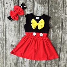 Nouvelle arrivée de bébé filles vêtements enfants portent d'été princes rouge jaune noir robe sans manches coton mtaching accessoires boutique
