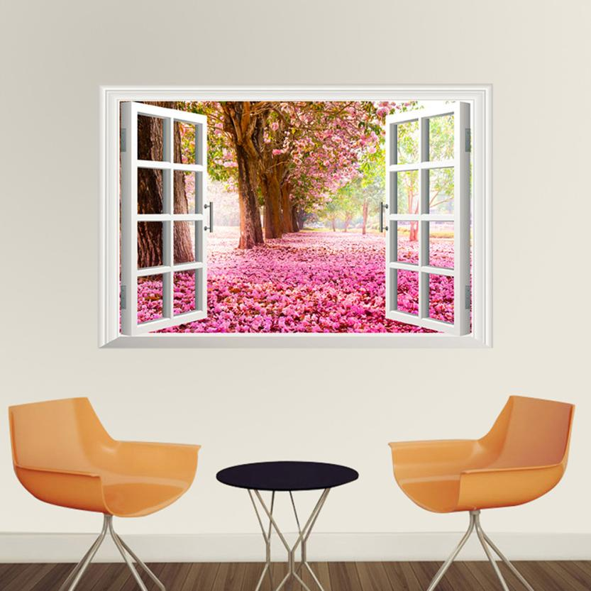 New Qualified Wall Stickers 3D Window Cherry Blossom Tree