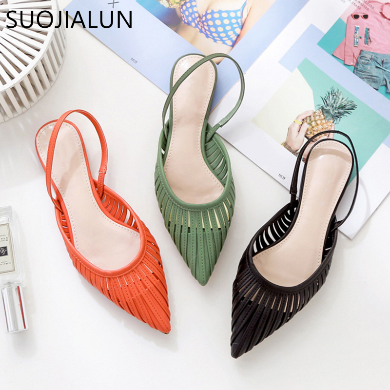 SUOJIALUN 2019 New Women Flat Sandals Brand Design Pointed Toe Slip On Sandal Mule Low Heel Strap Dress Women Outdoor Slides