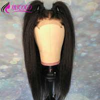 Kinky Straight Wig Brazilian Lace Front Human Hair Wigs Pre Plucked Italian Yaki 13x4 Closure Lace Front Wigs Glueless Mscoco