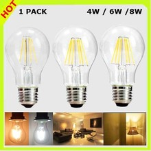 2 YEAR WARRANTY 4W or 6W or 8W LED filament bulb COB LED edison bulbs A60 120V 220V 230V 240V clear glass 360 degree beam angle