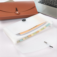 Fashion 13 Grids Document Bag Solid Color Mini Bill Receipt File Bag Pouch Folder Organizer File Holder Office Accountant Supply