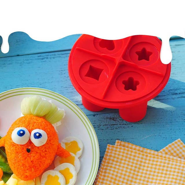 Non-stick silicone egg mold star heart flower shapes