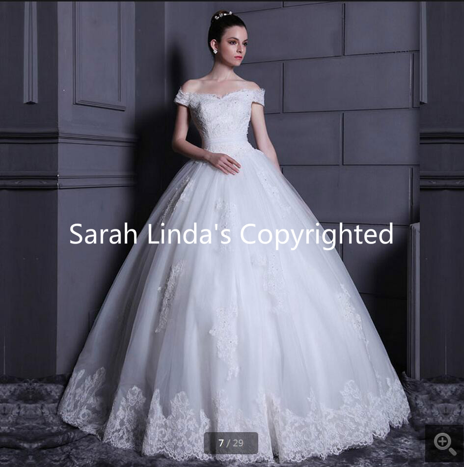 Ball gown off the shoulder v neck appliques lace wedding dresses ...