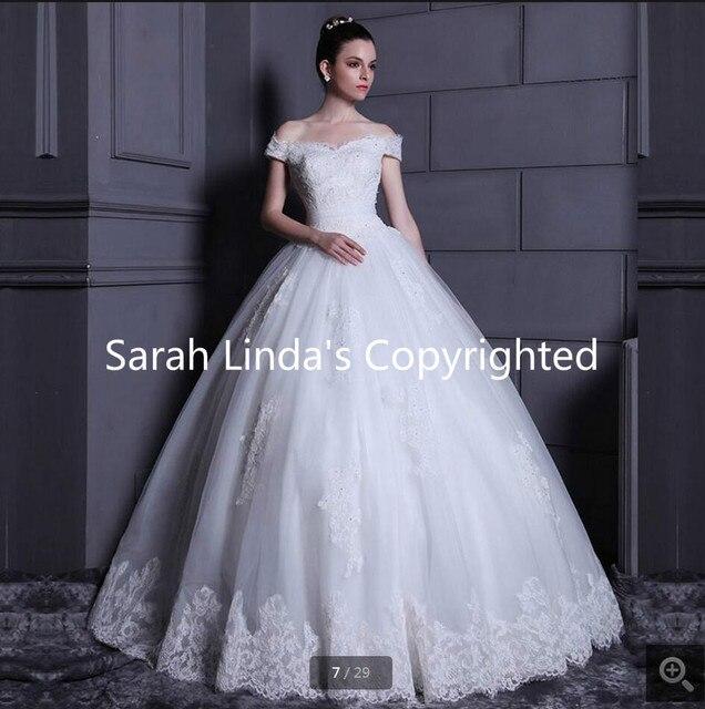 ac15d75ab92 Robe de balle hors de l épaule v cou appliques dentelle robes de mariée  princesse
