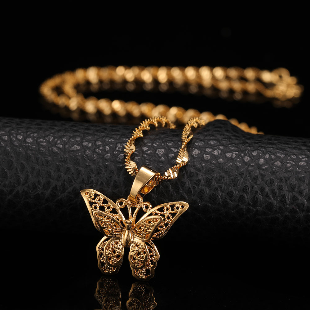 St.kunkka Butterfly Statement Necklaces Pendants Woman Chokers Collar Water Wave Chain Bib 24K Yellow Gold Filled Chunky Jewelry