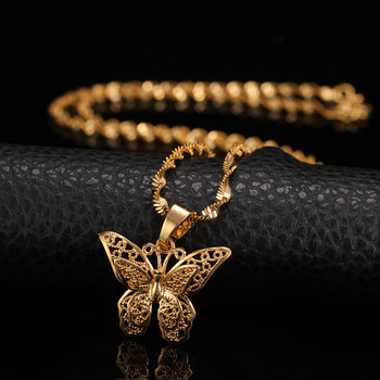 St.kunkka Yellow Gold Filled Butterfly Statement Necklace