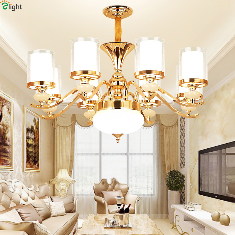 Pictures Of Chandeliers In Dining Rooms: Modern Gold Metal Led Chandeliers Lighting Marble Living Room Led Pendant Chandelier Lights