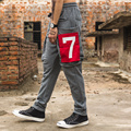 2017 new fashion big number 7Loose New Hip Hop Harem PantsMens Joggers Autumn And Winter Drawstring Men Casual Comfortable Breat