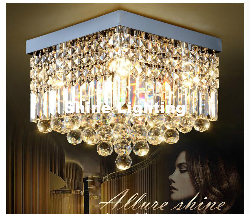 Free Shipping Modern L25cm Clear LED Crystal Ceiling Lamp Stainless Steel Ceiling Light Foyer Lamp Hotel Hall Lamp Loft Lighting